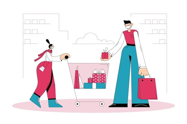 Shopping et achat de cadeaux pendant le concept covid-19.