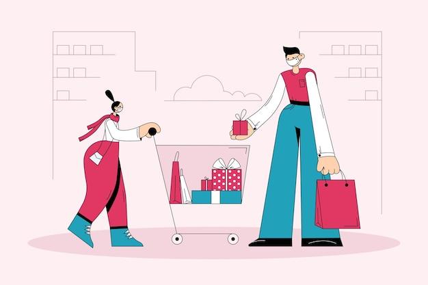 Shopping et achat de cadeaux pendant le concept covid-19