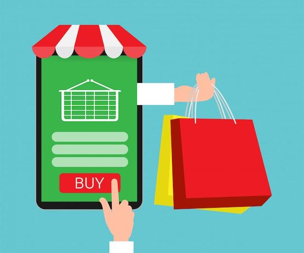 Shopping boutique en ligne avec application.