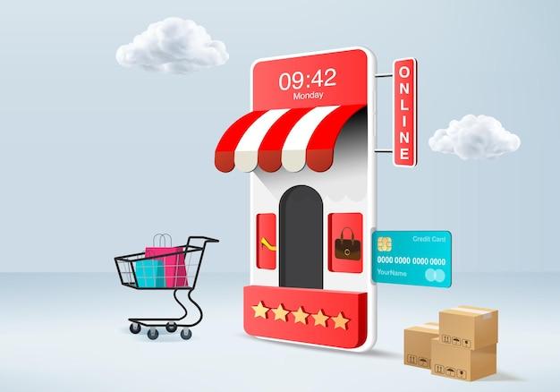 Shopping boutique en ligne à vendre, e-commerce mobile 3d bleu. panier, carte de crédit. appareil en ligne de magasin minimal rendu 3d