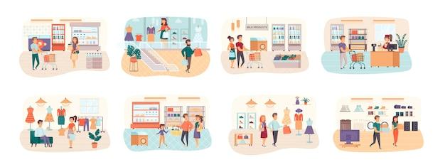 Shopping bundle de scènes avec situation de personnages plats
