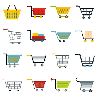 Shopping cart icons set in style plat
