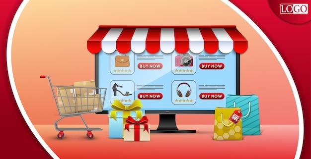Shopping concept de design en ligne avec ordinateur et cadeaux
