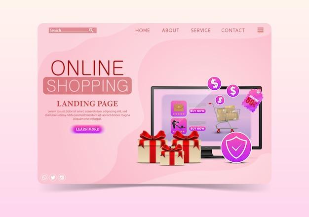 Shopping concept de design en ligne avec ordinateur portable et cadeaux