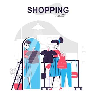 Shopping concept de dessin animé isolé acheteur femme essayant des vêtements dans la cabine d'essayage au magasin