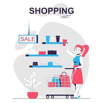 Shopping concept de dessin animé isolé femme achetant des cosmétiques en vente chez les clients du magasin