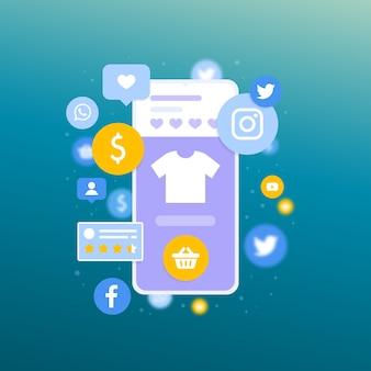 Shopping concept de marketing en ligne