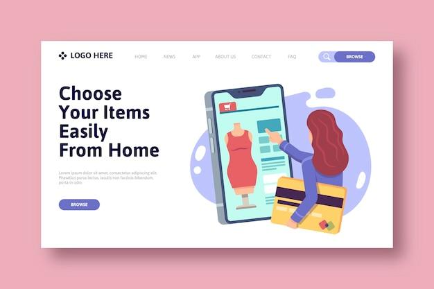 Shopping concept de page de destination en ligne