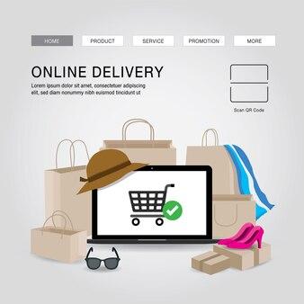 Shopping concept de service de livraison en ligne cartoon illustration. ordinateur portable application ouverte pour infographie de commande en ligne. covid19. quarantaine dans la ville.