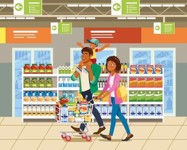 Shopping avec le concept de vecteur de dessin animé de famille