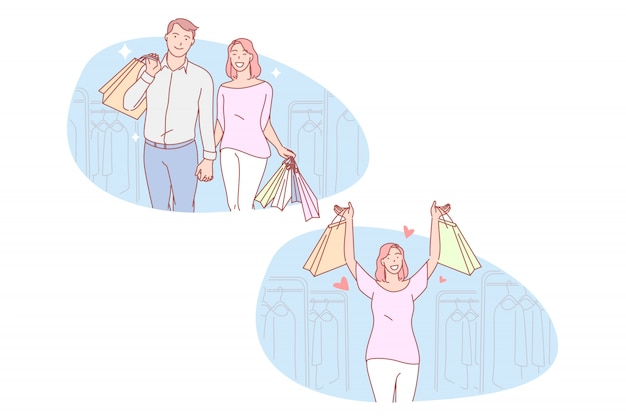 Shopping, couple, amour, vente set illustration