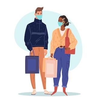 Shopping en couple masque en magasin faire des achats dans des masques médicaux