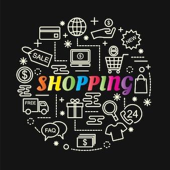 Shopping dégradé coloré avec jeu d'icônes de ligne
