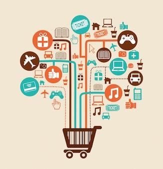 Shopping design au cours de l'illustration vectorielle de fond