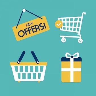 Shopping design sur illustration vectorielle fond bleu