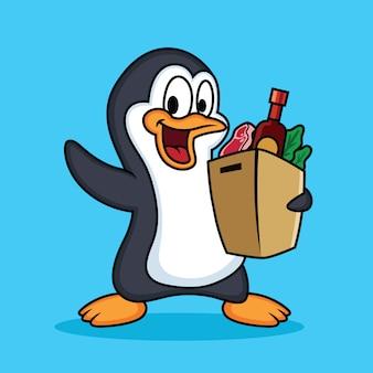 Shopping dessin animé mignon pingouins avec fond bleu