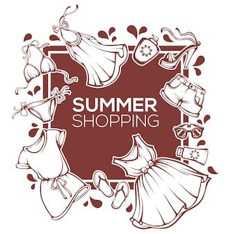 Shopping d'été, modèle de conception de mode avec des vêtements, accessoires, chaussures, maillot de bain