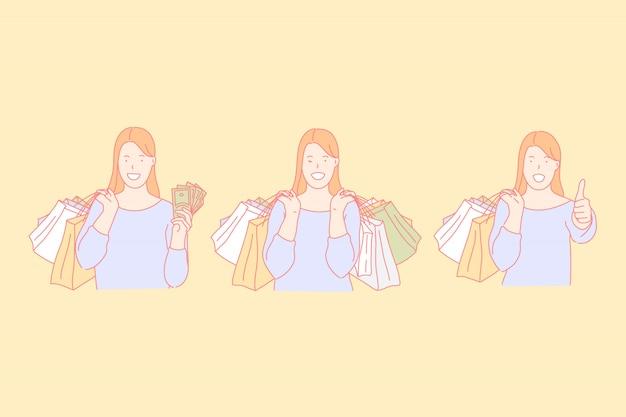Shopping, faire des achats, acheter des cadeaux concept