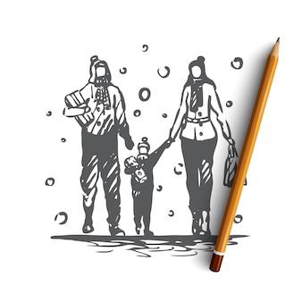 Shopping familial dessiné à la main
