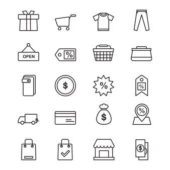 Shopping icônes dans le style de ligne