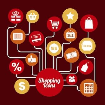 Shopping icônes sur illustration vectorielle fond rouge
