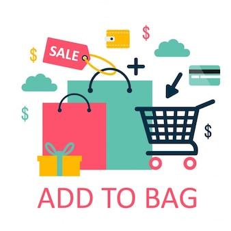 Shopping illustration en ligne
