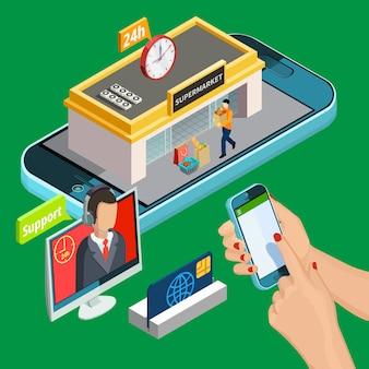 Shopping isométrique en ligne