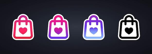 Shopping jeu d'icônes d'autocollant ou soutenir les petites entreprises locales