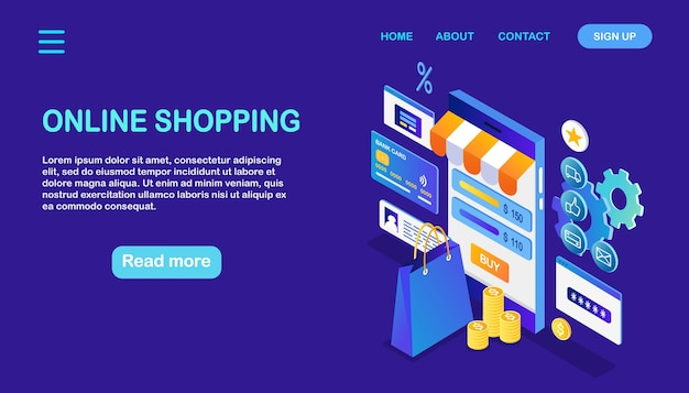Shopping en ligne. achetez en magasin par internet. vente à rabais. smartphone isométrique avec sac