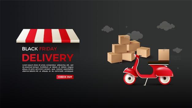 Shopping en ligne black friday avec une illustration d'une livraison de marchandises.