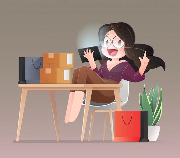 Shopping en ligne. cartoon shopper women wearing pink achète en ligne avec un ordinateur portable et un support pour carte de crédit dans un bureau à domicile. travail à domicile concept. illustration de caractère plat.