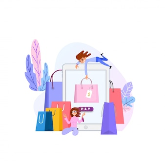 Shopping en ligne concept