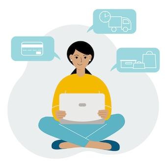Shopping en ligne. la femme est assise avec un ordinateur portable. l'acheteur commande le produit en ligne. paiement, livraison, réception.