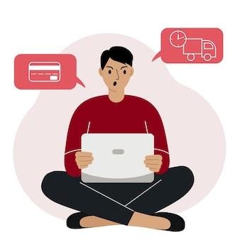 Shopping en ligne. l'homme est assis avec un ordinateur portable. l'acheteur commande le produit en ligne. insatisfait du service. paiement, livraison. commerce électronique. illustration vectorielle plane.