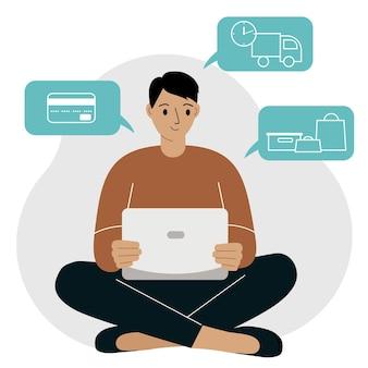 Shopping en ligne. l'homme est assis avec un ordinateur portable. l'acheteur commande le produit en ligne. paiement, livraison, réception. commerce électronique. illustration vectorielle plane.