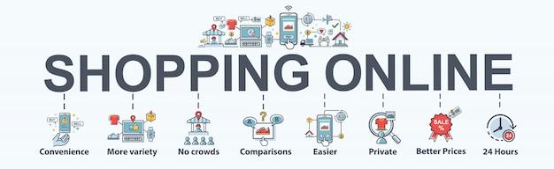Shopping en ligne icône web bannière définie pour le marketing en ligne.