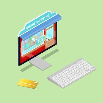 Shopping en ligne. ordinateur isométrique. commerce électronique.
