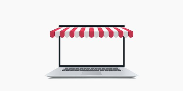 Shopping en ligne. ordinateur portable avec illustration d'auvent