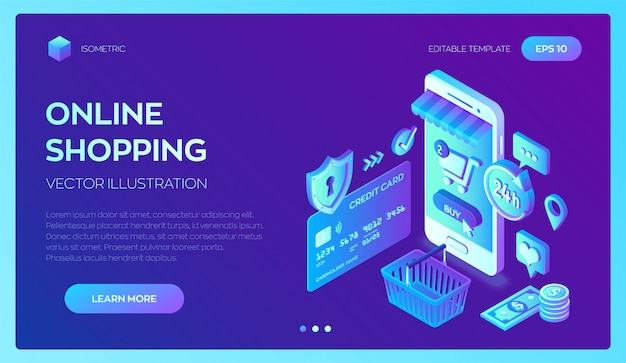 Shopping en ligne. téléphone intelligent. carte de banque isométrique 3d, argent et sac à provisions.