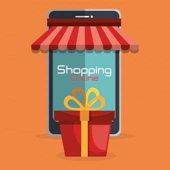 Shopping en ligne avec téléphone