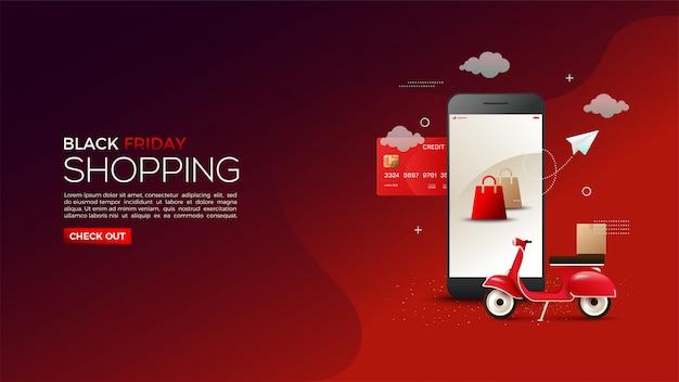 Shopping en ligne vendredi noir avec des illustrations de cartes de crédit