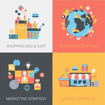 Shopping, livraison, stratégie marketing et jeu d'icônes de boutique en ligne.