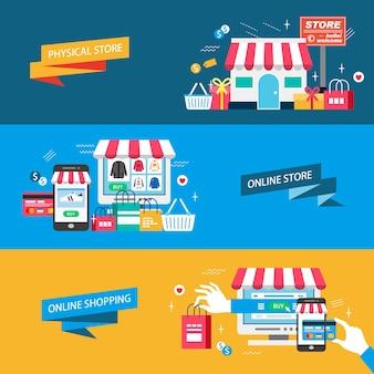Shopping magasin physique illustration design plat