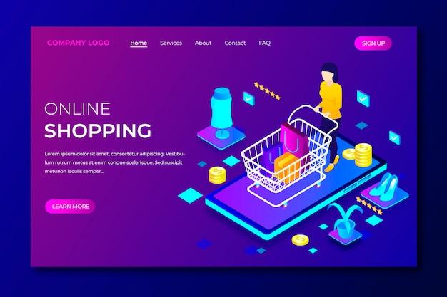 Shopping modèle de page de destination en ligne dans un style isométrique