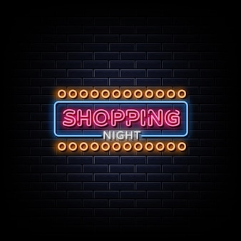 Shopping night texte de style enseignes au néon