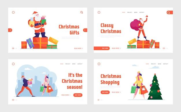 Shopping de noël et père noël avec ensemble de pages de destination de cadeaux