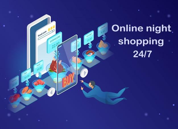 Shopping de nuit en ligne, homme achetant des produits alimentaires.