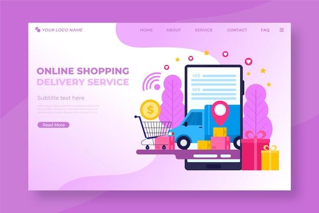 Shopping page de destination en ligne au design plat