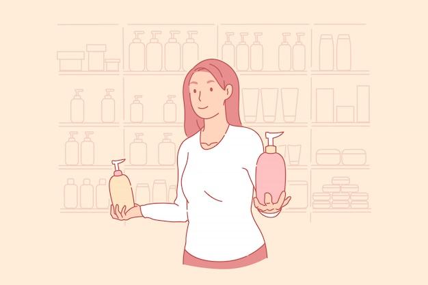 Shopping, salon de beauté, publicité, concept de service