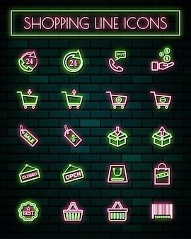 Shopping signe néon mince ligne rougeoyante icônes définies.